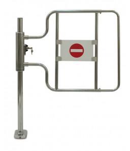 Kassa-afsperring op buispoot met slot, links openend, hoge deurbeugel
