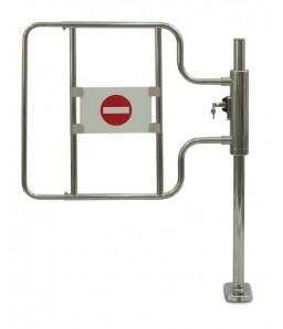 Kassa-afsperring op buispoot met slot, rechts openend, hoge deurbeugel