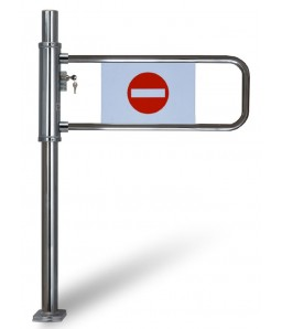 Kassa-afsperring op buispoot met slot, links openend