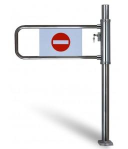 Kassa-afsperring op buispoot met slot, rechts openend